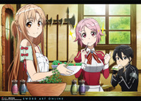Sword Art Online: Asuna, Lizbeth, Kirito Eating Wall Scroll