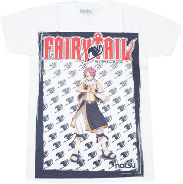 Fairy Tail: Natsu Men's Sublimation White T-Shirt
