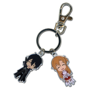 Sword Art Online: Chibi SD Kirito & Asuna Metal Key Chain