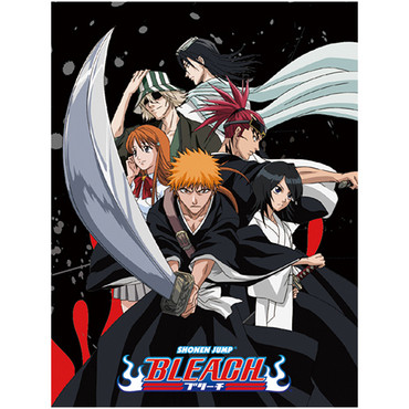 Bleach: Ichigo Holding Sword with Group Sublimation Throw Blanket