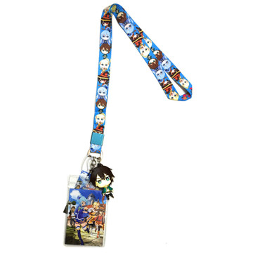 Konosuba: Group Lanyard with ID Badge Holder and PVC Kazuma Charm