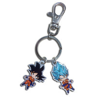 Dragon Ball Super: SD Goku & Super Saiyan God Blue Goku Metal Keychain