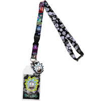 Rick & Morty Multi-Character Lanyard with Sticker ID Holder & Charm