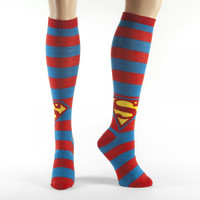 DC Comics: Superman Shield Stripes High Knee Socks