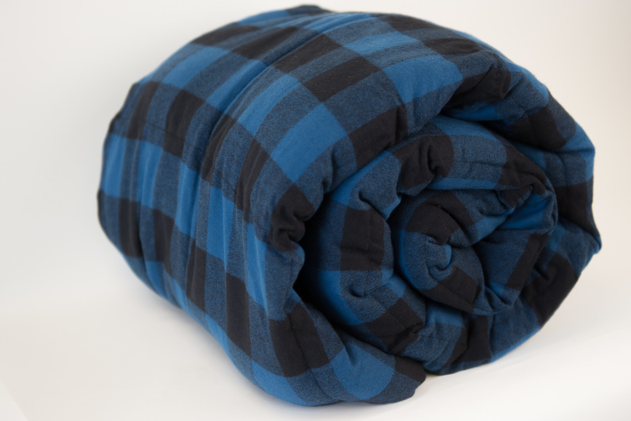Black & Blue Plaid Cotton Weighted Blanket