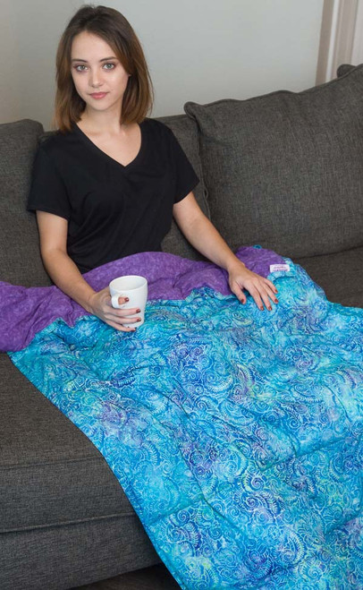 "Women's Large Blue Batik Cotton, 42X72"" Ready to ship in 10, 12, 15 lbs"