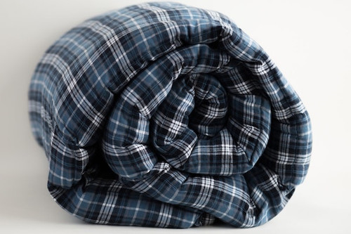 Dublin Blue Cotton Plaid Weighted Blanket Teen/ Adult 42x72""