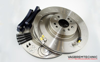 Front 1-Piece 350x32mm Disc & Caliper Carrier Kit - Allows Fitment of Porsche 996TT Calipers (DI0007)