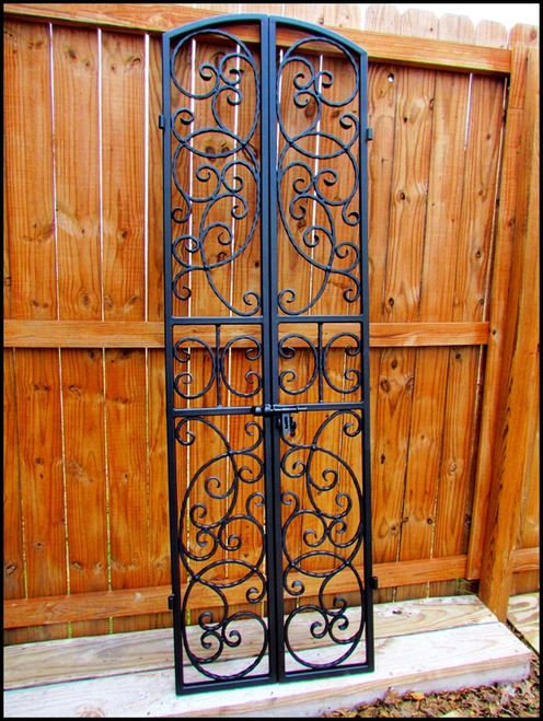 Bordeaux Wrought Iron Wine Cellar Double Door Gate   Many Sizes To Choose  From   Free Vintage Padlock