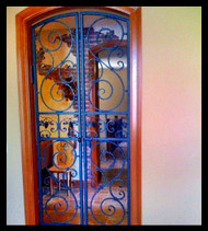 "Scalloped Scroll Wrought Iron Wine Cellar Double Door or Garden Gate, 36"" width"