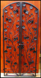 Artistic Grapevine Double Iron Wine Cellar Door - 36 inches wide by 80 or 96 inches tall