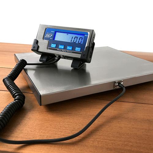 Model 357 fishing scale indicator sitting on stainless steel platform