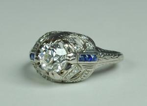 Art Deco Platinum Engagement Ring .90 carats