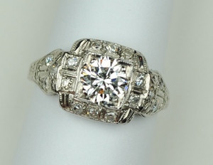 Mid Century 1.01 carat Diamond Platinum Ring