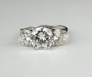 SOLD 3 Stone Diamond Platinum Ring
