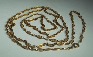 Art Nouveau 18kt Gold  62 inch French Chain