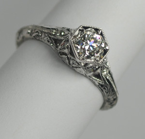 Simply Elegant Art Deco Style Engagement Ring