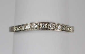 Contoured Platinum and Diamond Wedding Band