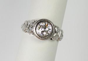 SOLD Art Deco Style Platinum Diamond Ring .75 carats
