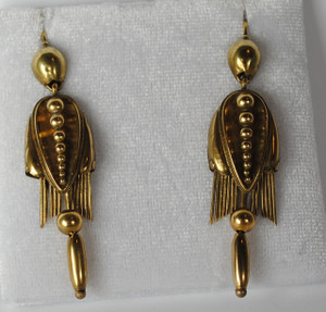 Victorian Large 14kt Foxtail Fringe Earrings