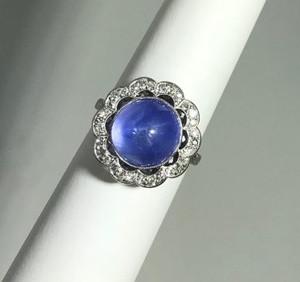 Art Deco Platinum Star Sapphire Ring 14ctw.