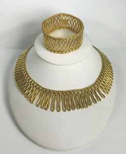 Unique Retro 18kt Gold Necklace and Bracelet Set