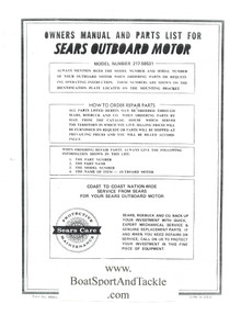 Eska Sears Ted Williams Owner's Manual - Model 217-58531