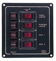 Aluminum Vertical Rocker Switch Panel - SeaDog 422010-1 - 12 Volt - 30 Amp Max - 4 Illuminating Switches - View 1
