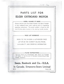 Elgin Owner's Manual Parts List - Model 571-58232 - Parts List and Diagrams