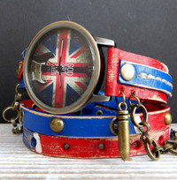 UK Flag Leather Wrap Watch