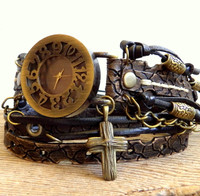 Steampunk Leather Wrap Watch with Cross Charm