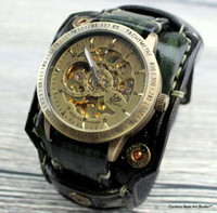 Military Green Leather Cuff Watch