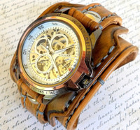 Medium Brown Steampunk Leather Watch Cuff
