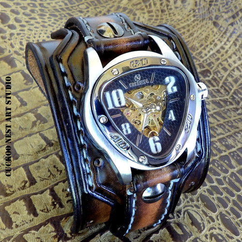 Aged Brown Skeleton Watch