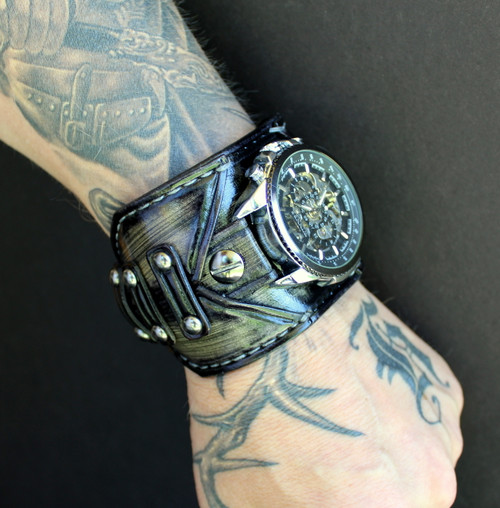 Frogged Leather Band with Steampunk Watch Face