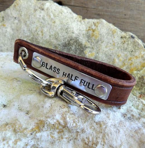 Glass Half Full Leather Key Chain