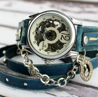 Denim Blue Leather Wrap Watch, Steampunk Leather Watch