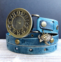 Denim Blue Women's Leather Wrist Watch with Turtle Charm