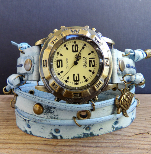 Blue Leather Wrap Watch with Turtle Charm