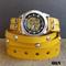 Yellow Steampunk Leather Wrap Watch