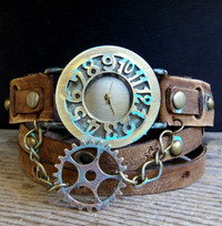 Steampunk Gear Wrap Watch with turquoise accents