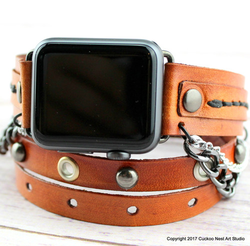 Women's Leather Apple Watch Band for 38mm or 42mm Apple Watch