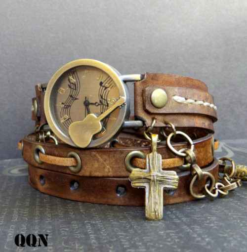 Brown Leather Guitar Wrap Watch with Cross Charm and Chain