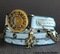 Ocean Blue Leather Wrap Watch with Octopus Charm