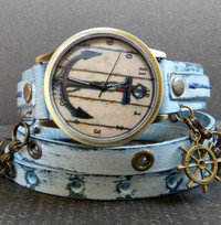 Ocean Blue Nautical Women's Leather Watch