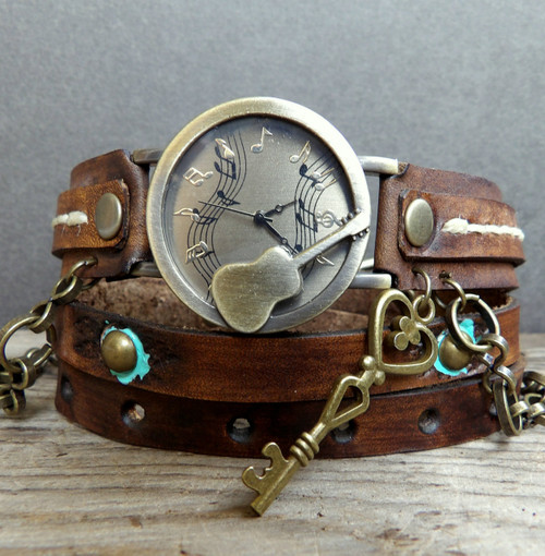 Guitar Leather Wrap Watch with Skeleton Key Charm