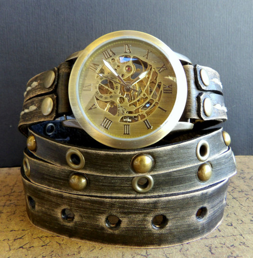 Steampunk Leather Wrap Watch for Men's - Distressed Green with Studs