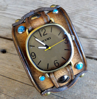 Women's Leather Watch Cuff with Turquoise Rivets-Vintage Brown