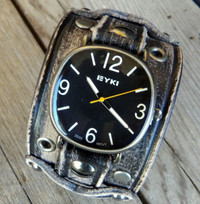 Wide Distressed Black Leather Watch Cuff for Women's