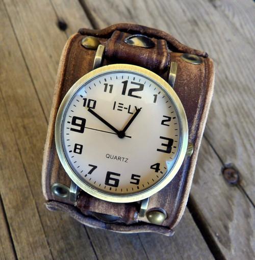 Rustic Women's Leather Watch Cuff-Distressed Brown Wrist Watch